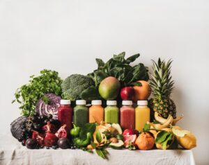 Variety of fresh colorful smoothies for detox weight loss diet